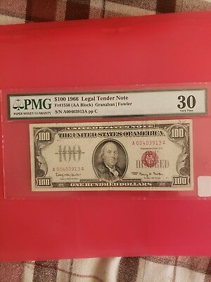 1966 $100 Dollar Bill United States Legal Tender Red Seal Note Low Serial