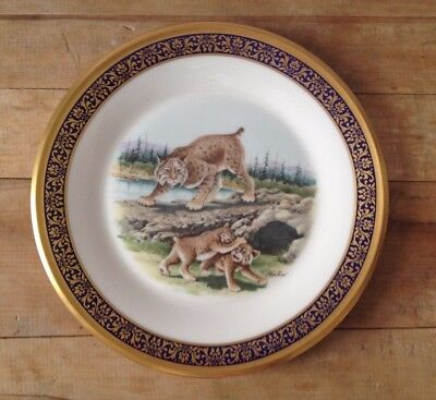 """Lennox """"BOBCATS"""" Plate Woodland Wildlife1980 Made in USA 24K Gold"""