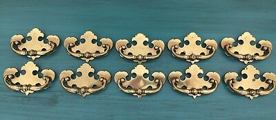 "Set 10 Vintage 4 1/2"" Brass Chippendale Bat Wing Drawer Pulls 3"" Center CP 1814"