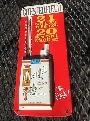 Chesterfield Thermometer Advertising Cigarettes Metal Sign