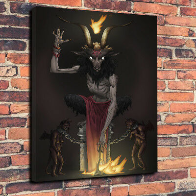 Baphomet Printed Canvas Picture Multiple Sizes 30mm Deep Occult Wicca The Devil