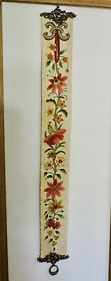 VINTAGE BELL PULL, Beautifully Embroidered, Crewel on raw silk
