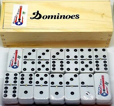 Puerto Rico Flag & Cuatro ( Guitar ) Double Six Dominos Dominoes * Free Shipping