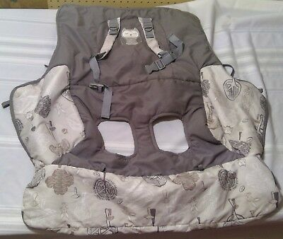 Baby infant shopping cart cover owl grey gray buckle gold inc soft safety