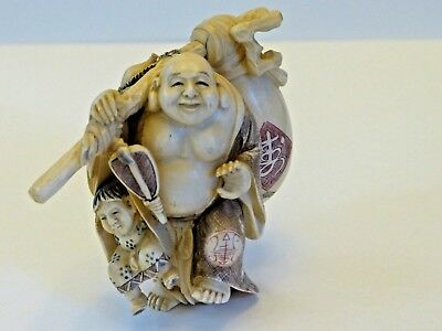 Japanese Antique Okimono Statue of a Happy Buddah Carrying Water Jug and Boy