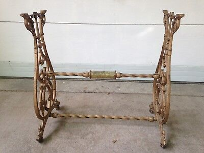 Vintage Cast Iron Ornate Base Table Legs Stand Marble Insert