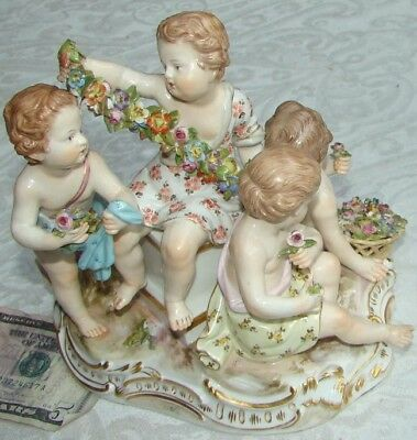 1870 MEISSEN PORCELAIN FIGURINE GROUP Allegory Four Seasons Spring 2502 Kaendler