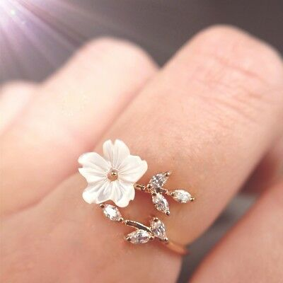2018 New Women Fashion Rose Gold-Plated Zircon Branches Shell Flowers Open Ring