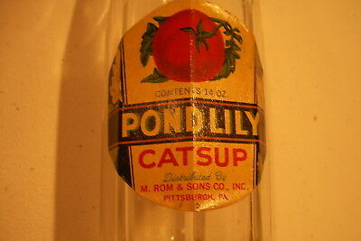 Rare, Labeled, Pond Lily Catsup Bottle W/ Lid, Pittsburgh, Pa.