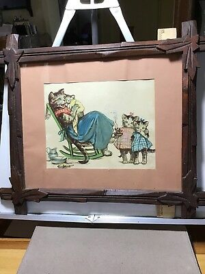 Antique Frame And Picture Cat Kitten