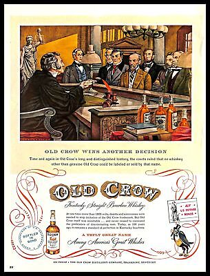 1952 Old Crow Kentucky Bourbon Whisky Vintage PRINT AD Court Judge Illustration