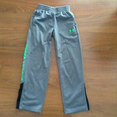 UNDER ARMOUR Boys Gray/Lime Green Logo LOOSE Sport PANTS Size YSM