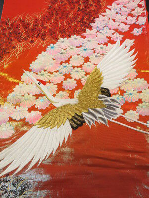 Su01z140 Japanese Kimono Synthetic UCHIKAKE FABRIC Red-Pink Crane 43.3""