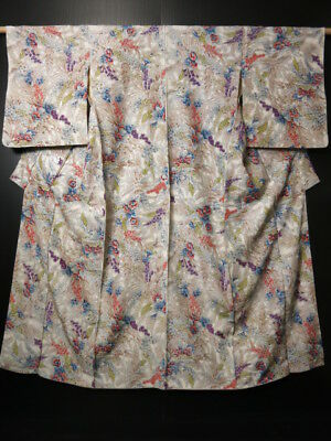 0912T03z660 Vintage Japanese Kimono Silk KOMON Off-white Flowers