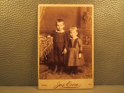 Victorian Antique Cabinet Card Photo of Two Young Children Brother and Sister