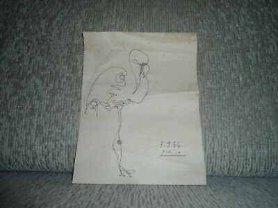 Pablo Picasso - Signed Watercolor --- Rare & Beautiful Vintage Art; Year 1956 **
