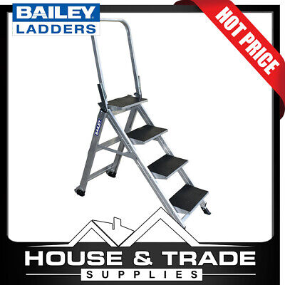 Bailey Stairwell Ladder 4 Step 89cm Aluminium With Folding Hand Rail FS13752