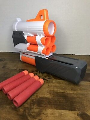 NERF Modulus Tri-strike Mega Dart Launcher Extension Barrel W/ 4 Mega Darts EUC!
