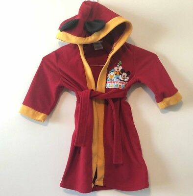 Disney Store  Mickey Mouse Clubhouse Hooded Robe Beach Bath Pool Spa Size 3T