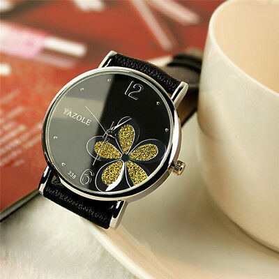 Fashion Women's Casual Flower Watches Leather Band Analog Quartz Wrist Watch