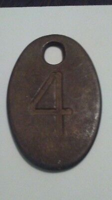 Vintage Tag Cow Tag #4 Brass Metal Antique Cattle Tag ear collar