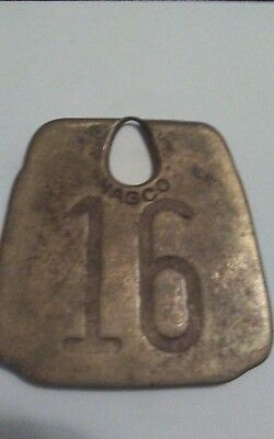 Vintage Tag Cow Tag #16 Brass Metal Antique Cattle Tag ear collar