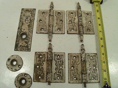 Lot Of Vintage Ornate Antique Salvaged Door Hinges, Plate, Etc