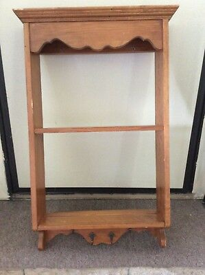Ethan Allen maple shelf with hooks for hanging keys, etc.