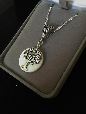 Tree Of Life Mother of Pearl Gemstone Pendant Necklace Sterling Silver Chain 18""