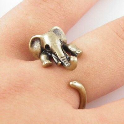 Knuckle Ring Open Ring Gift Cute Elephant Ancient Jewelry Animal Bronze Ring