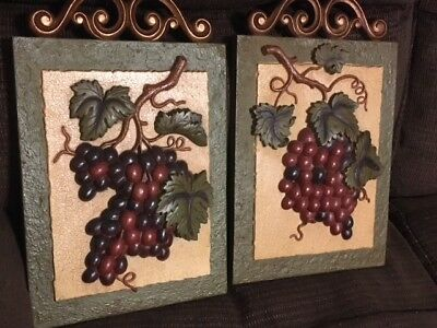 Home Interiors & Gifts Sonoma Villa Fruit Picture Set off 2 Plaques