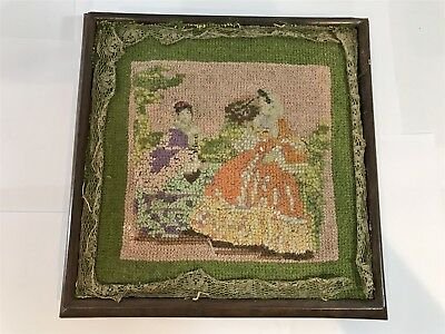 Early Antique Victorian Teapot Stand Stool - Handmade Tapestry Design Dated 1880
