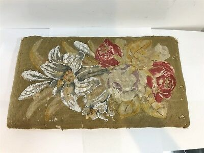 Antique Victorian Footstool Pad / Rest - Handmade Tapestry Beaded Work
