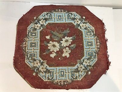Antique Victorian Footstool Pad / Rest Handmade Tapestry Beaded Work Dated 1850