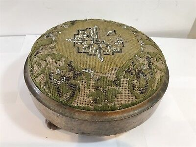 Early Antique Victorian Footstool - Handmade Tapestry Design Dated 1840