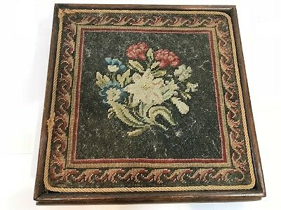 Early Antique Victorian Teapot Stand Stool - Handmade Tapestry Design Dated 1860