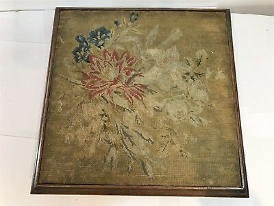 Early Antique Victorian Teapot Stand Stool - Handmade Tapestry Design Dated 1850