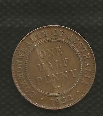 1932 Half Penny - *george V* - *8 Pearls* - Extremely Fine Condition