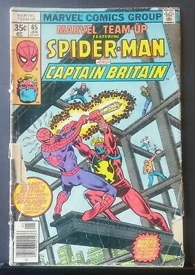 Marvel Team-up #65 First appearance Captain Britain 1978 Spider-Man LOW GRADE