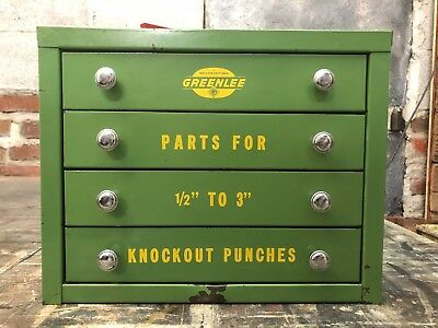 Vintage Industrial Greenlee Parts Cabinet Heavy Duty Mechanic Tool Box 4 Drawer