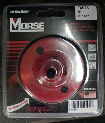 "Morse TAC48 Size 3"" Hole Saw With Arbor Cuts Stainless Steel New"