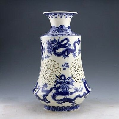 Set 2 Pieces Hollowed Chinese Blue And White Porcelain Vase w Qianlong Mark  e01