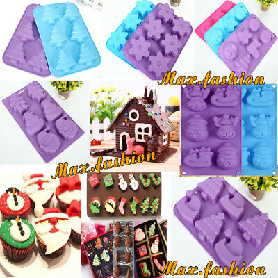 Christmas Silicone Cake Mould Chocolate Cookies Baking Soap Jelly Ice Tray Mold