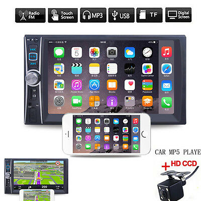"""6.6"""" 2 DIN Stereo Car MP5 Player Bluetooth MP4/Audio/Video/USB Rearview+Camera"""
