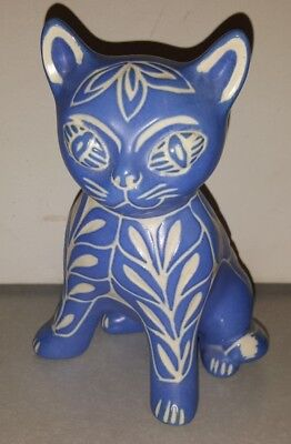 Pablo Zabal Blue Zoo Cat Mid Century Modern Ceramic Pottery White Signed Chile 2
