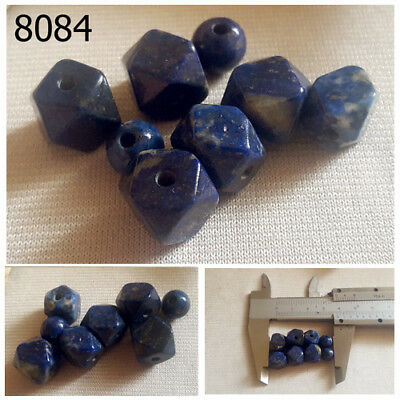 Lot 8 Ancient Style Lapis Lazuli w/Pyrite Carved Faceted Ball Bead #8084