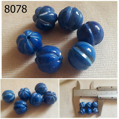 Lot 6 Ancient Style RIBBED Lapis w/ Pyrite Carved Egyptian Melon Beads #8078