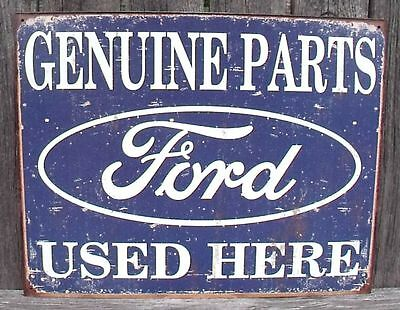 Sign Ford Genuine Parts Used Here Vintage Blue New Metal Collectible 12 1/2x16in