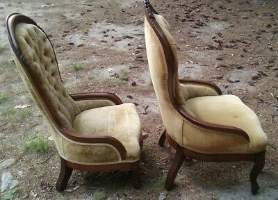 Set of ANTIQUE VICTORIAN UPHOLSTERED PARLOR CHAIRS (Wolfeboro, N. H.)