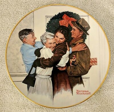 1985 Norman Rockwell Home For The Holidays Plate - Gorham Collectibles - Mint